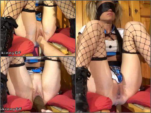 Pussy fisting – MySkinnyGF hard fisting, and a huge black dildo. Is what a petite kinky student deserve, after school – Premium user Request