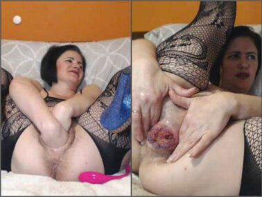 Mature fisting - Hairy large labia pussy MILF Analvivian apple, ball, dildo and fist penetration anal