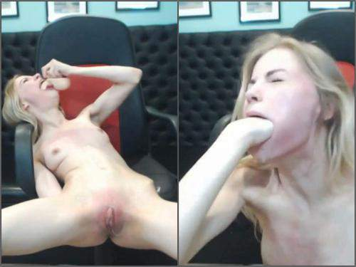 Webcam – Tattooed skinny blonde girl rough spanking and deepthroat fucked
