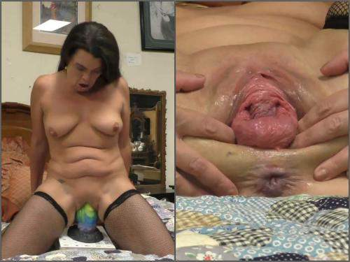 Amateur – Dirty granny Hottabbycat tabby fucks the largest bad dragon cock