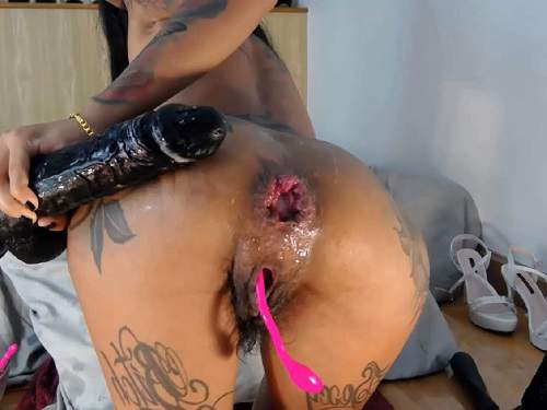 Anal – Asianqueen93 herself double dildo insertion in hairy pussy and wet asshole