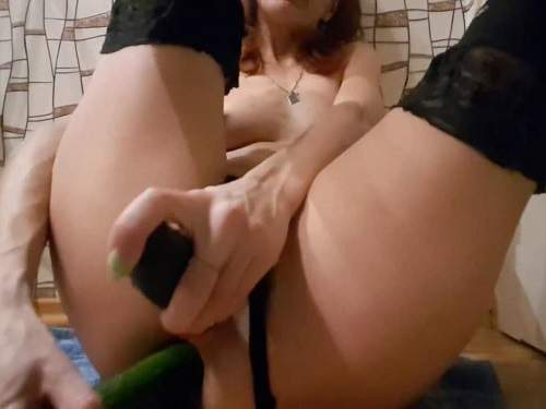 Vegetable anal – Skinny wife anal gape loose with two long cucumbers