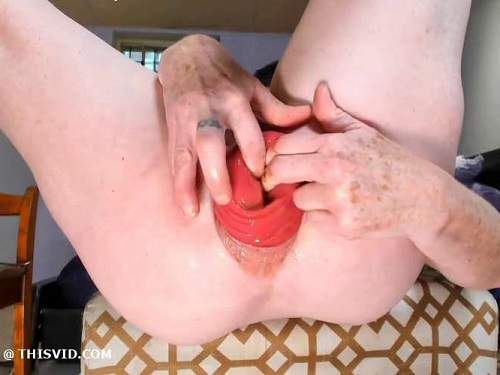 Scat panties – Kinky brunette scat MILF again stretching her shocking size anal prolapse