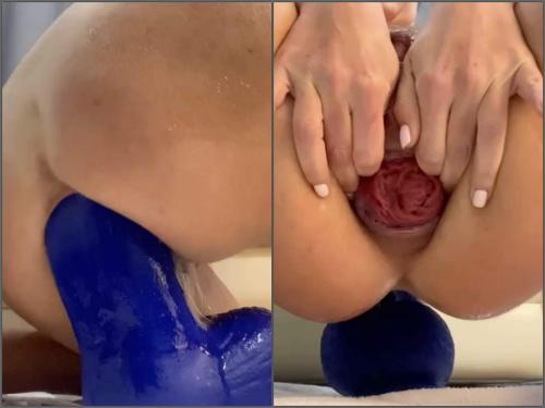 Dildo riding – Huge labia busty wife fully anal insertion bad dragon toy in prolapse ass