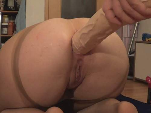 Anal insertion – JungesfetischpaarNRW monster red butplug rides to gaping homemade