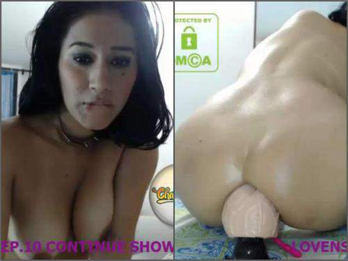 Anal insertion – Latin with big ass solo rides on a big double dildo