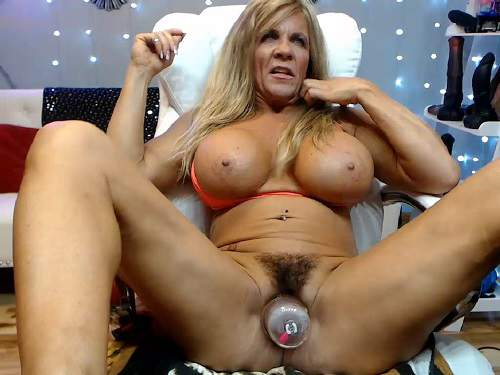 Mature penetration – Muscular mature hairy pussy pump and dildo rides vaginal