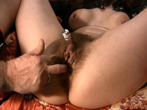 Pump – Masked hairy wife with large labia and big clit pumping games with husband