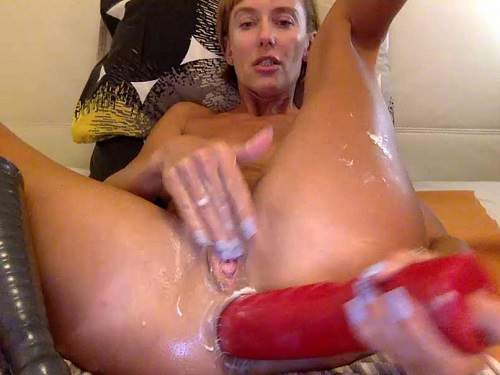Dildo anal – Russian kinky wife Bbmix996 huge dildos insert in gaping anus