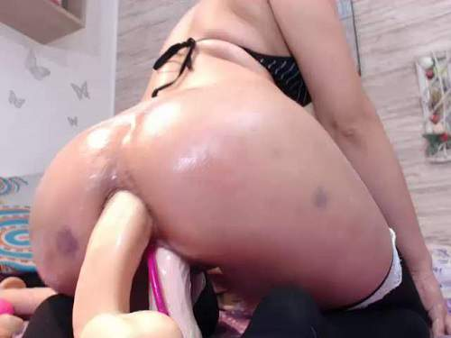 Gaping asshole – Natashaa_10 giant anal gape stretched with help double long dildos