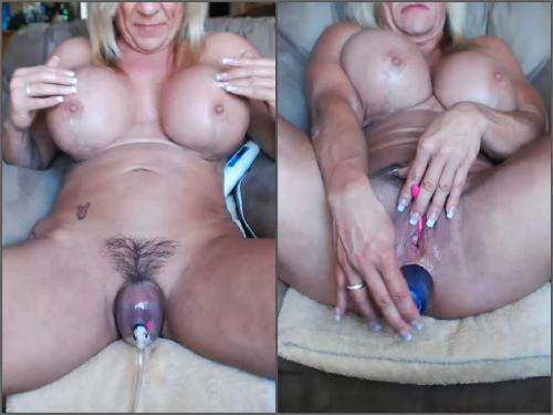 Anal – Hairy mature big clit and pussy pump herself during dildo penetration