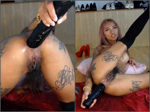 Anal – Hairy asian pornstar Asianqueen93 anal gape loose with dildos