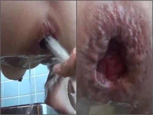 Enema – Asian busty wife water enema and giant gape loose in the bathroom