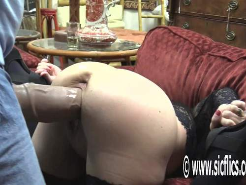 Huge dildo – Crazy MILF Hottabbycat gaping pussy stretched after strapon domination from husband