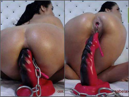 Dildo anal – Xxisabelaxxx DAP with double dildo and dragon toy with iron ball