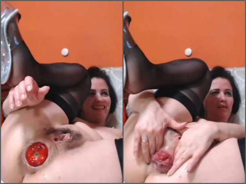 Mature fisting – Dirty hairy MILF Analvivian apple and BBC dildo hard fuck