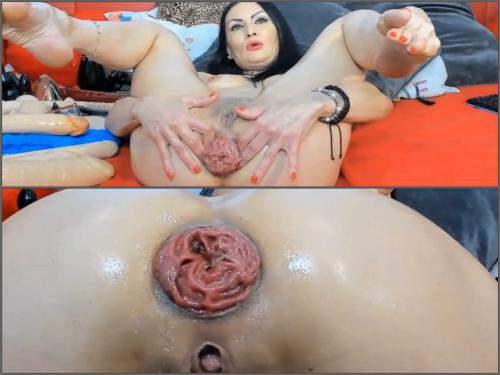 Anal insertion – Perverted brunette insertion huge balls and dildos in her monster prolapse anal
