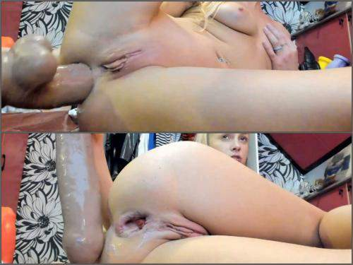 Dildo riding – SiswetLive again penetration BBC and other monster dildo in ruined anus hole
