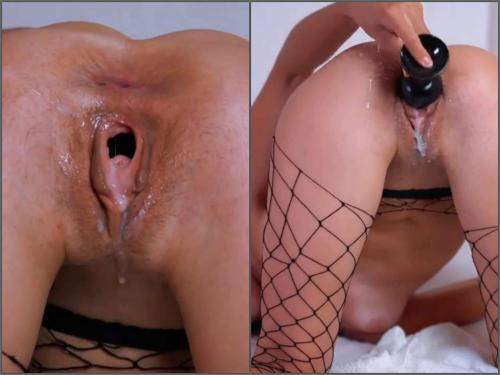 Large labia – Webcam skinny brunette Natalieflowers dildo sex in gaping wet pussy