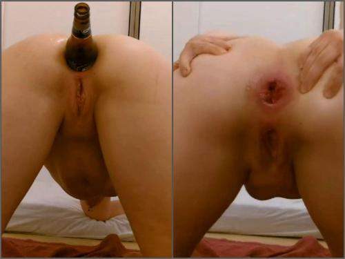 Anal – Amateur beer bottle penetration anal in different poses