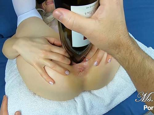 Hairy pussy – Cute hairy masked wife Ms Fine again gets wine bottle in pussy