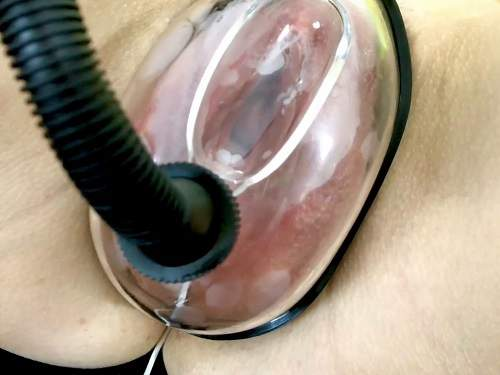 FullHD porn – Very closeup POV vaginal pump with my horny large labia wife