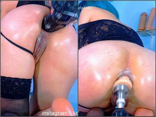 Anal insertion – Big tits camgirl Karlakole fucking machine anal driller hardcore very close-up