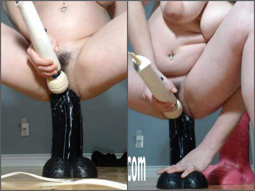 Dildo porn – Hairy pussy girl with big tits self rides on a really BBC dildo