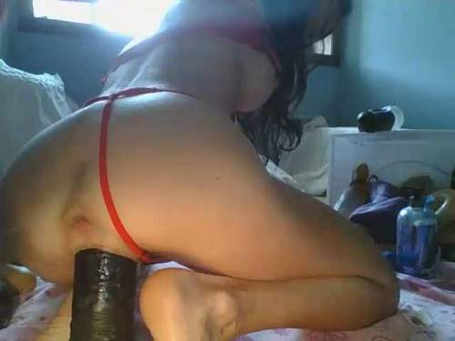 Dildo porn – Big tits pornstar Lilrosiedoll gaping pussy ruined after BBC dildo rides