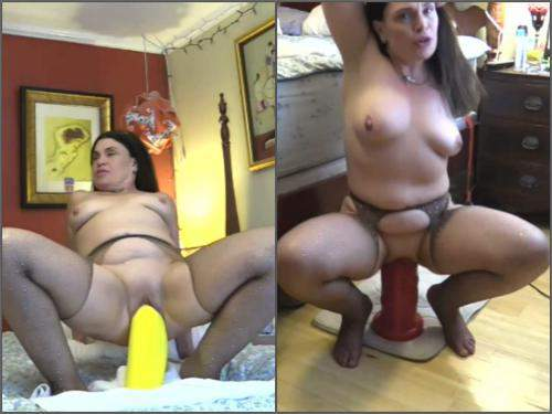 Booty girl – Big tits mom Hottabbycat vaginal gape ruined with two colossal dildos