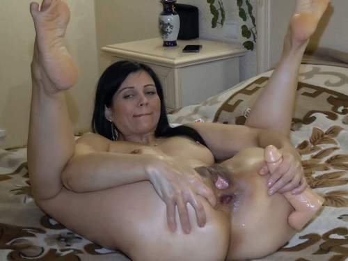 FullHD porn – Russian dirty wife Kristinaslut narrow gaping hole stretching with rubber toy