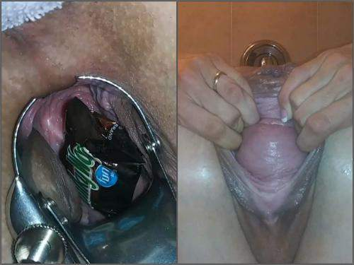 Pussy prolapse – Russian Kristinaslut speculum examination and pussy prolapse in the bathroom
