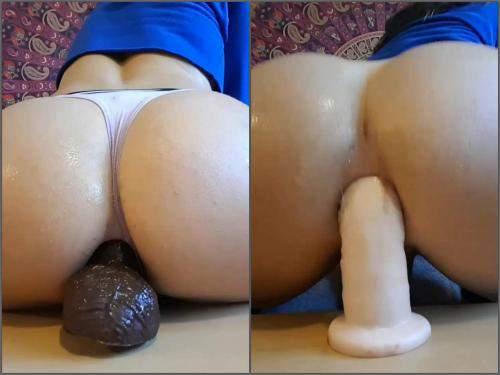 Shemale dildo – Shemale adrienaden amazing anal creampie from anal gape