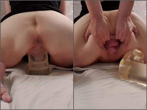 Closeup – StretchGirl85 stretching my loose gaping pussy with big clear dildo – Premium user Request