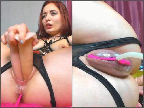 Pussypump – Redhead kinky pornstar Sonya_Keller vaginal pump and DVP