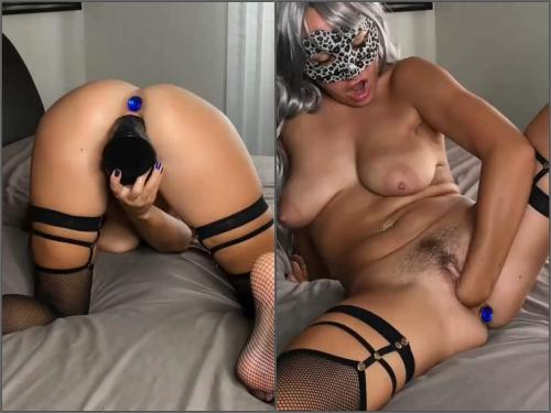 Mask Fetish – Fallen Angel with beautiful natural tits enjoy self fisting and dildo penetration