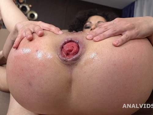 Facial – Curly pornstar Stacy Bloom anal prolapse show after rough DAP