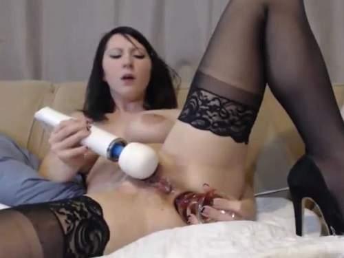 Dildo anal – Webcam star penetrated colossal transparent toy into ass