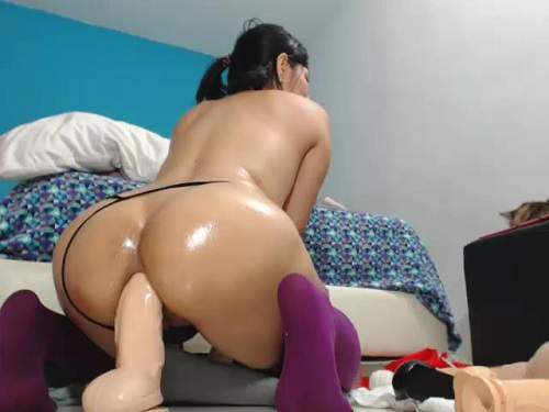 Anal insertion – Exciting booty latin colossal dildo anal insertion