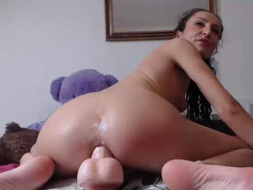 Anal insertion – Asshole dildo rides perverted curly girl webcam