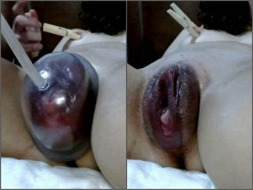 Closeup – Сlothespin on big pussy after pump with my horny wife