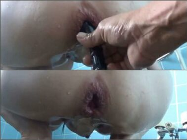 Asian - Big tits asian with piercing nipples stretched her gaping hole during enema domination