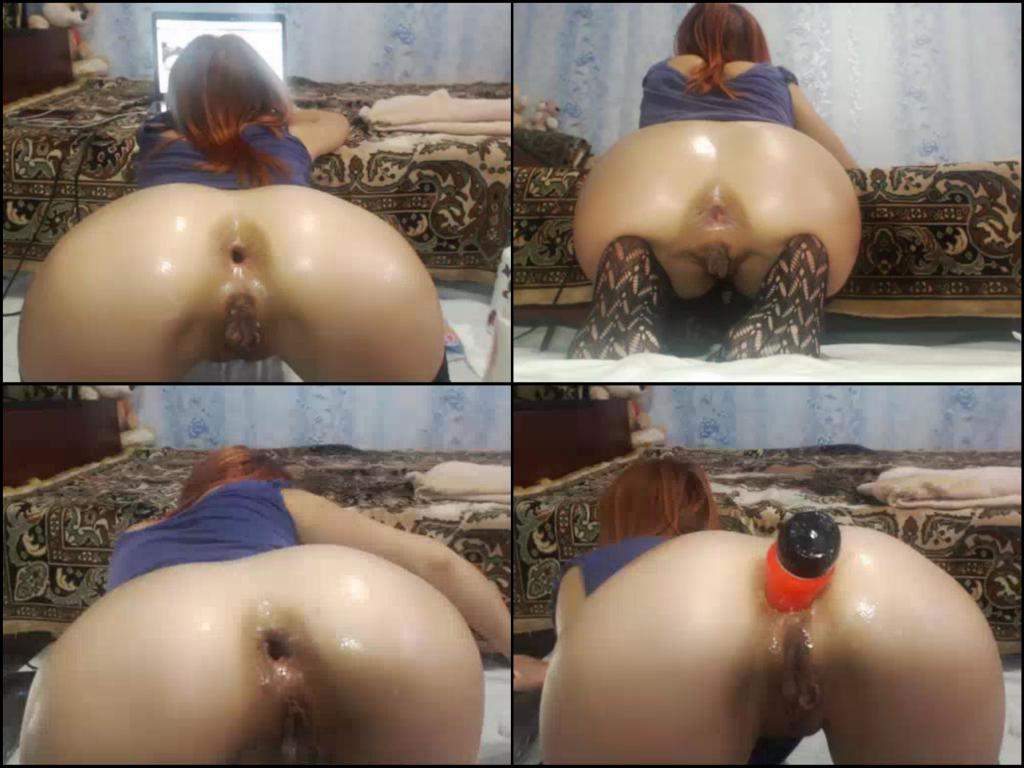kinky redhead slut with giant labia,auto gaping asshole closeup,fantastic girl dildo ass penetrated