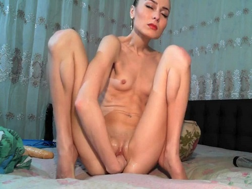 Anal stretching – Russian extremely skinny girl fisted her anal and narrow pussy