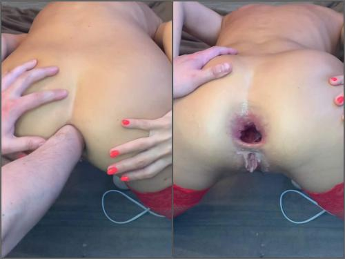 Girl gets fisted – CrazyWifeSlut CWS ruined her asshole by fist and dildo – Premium user Request