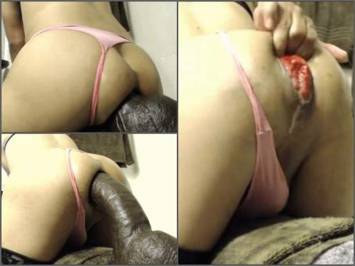 Close up – Webcam big ass shemale exciting rides on a monster brown dildo with prolapse