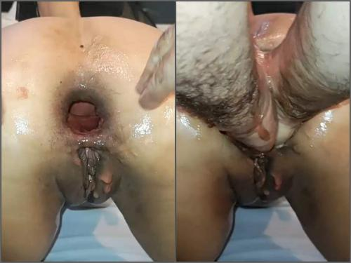 FullHD porn – Latina big ass wife gets double fisted anal and show sweet gaping