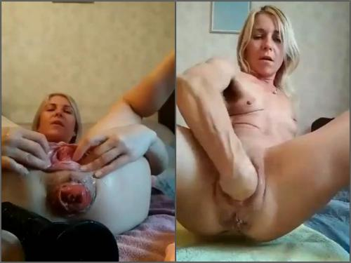 Mature fisting – Sexy MILF Sindy Rose vaginal prolapse and anal loose during object insertion