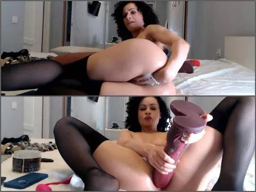 Pussy insertion – Curly Stacy Bloom monster size horse toy and fist deeply anal fuck